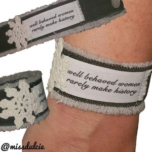 Crochet Distressed Denim Bracelet Cuff Women Quote